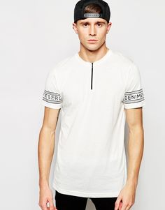 """T-shirt by Serge Denimes Soft-touch jersey Crew neck Zip placket detail Logo sleeve print Regular fit - true to size Machine wash 50% Cotton, 50% Polyester Our model wears a size Medium and is 188cm/6'2"""" tall"""
