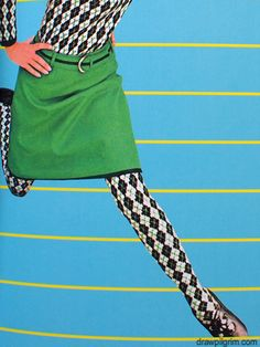 The Total Look is what it was called. Patterned tights & top make hearts go pitter-patter. 60s And 70s Fashion, 60 Fashion, Fashion History, Retro Fashion, Vintage Fashion, Sporty Fashion, Fashion Women, Winter Fashion, Patti Hansen