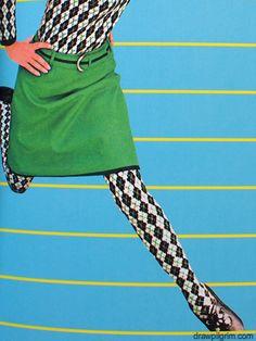 Harlequin leggings.1960's fashion. Mod
