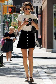 Black skirt, white t-shirt