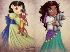Disney - Mulan & Esmerelda - too cute Disney Dream, Disney Love, Disney Stuff, Disney E Dreamworks, Disney Pixar, Disney Fan Art, Disney Girls, Baby Disney, Cartoon Pics