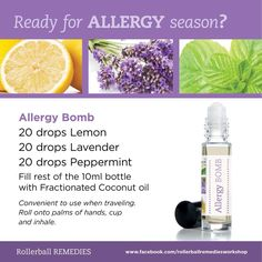 Ready or not allergy season is here! This year, try a natural solution for some relief, pure therapeutic Essential Oils. Lemon, supports healthy respiratory function. Lavender, can calm sinus issues,