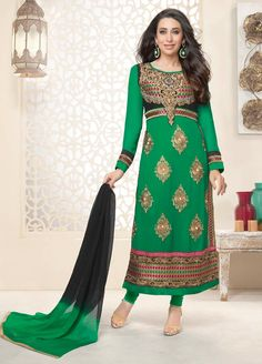 #Attractive Green Colour #Georgette #Straightcut #Casualwear #Suit.