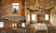 Artista usa lama para decorar uma sala de aula na Índia e o resultado é fabuloso