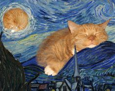 Vincent van Gogh, The Starry Night, true version, aka The Furry Night. The masterpiece improved by Zarathustra the Cat Animals And Pets, Funny Animals, Cute Animals, I Love Cats, Crazy Cats, Cat People, Fat Cats, Vincent Van Gogh, Animal Paintings