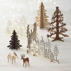 Laser Cut Village in Christmas Decorating   Crate and Barrel