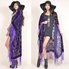 Purple Sheer Silk Burnout Velvet Fringe Hippie Boho Gypsy Cape... (8,750 INR) ❤ liked on Polyvore featuring outerwear, jackets, grey, women's clothing, velvet fringe kimono, fringe kimono jacket, kimono jacket, burnout velvet kimono and fringe kimono