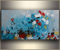 Teal Oil Painting Abstract ORIGINAL Oil Painting by studiomosaic