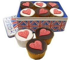 An Emma Bridgewater Union Jack tin of 6 cupcakes in a choice of two flavours, decorated with red sugar hearts. A truly great idea for your Valentine!     http://www.caketoppers.co.uk/index.asp?Item=union-jack-tin-of-valentine-cupcakes--31422061