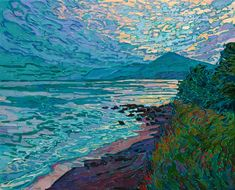 Aquamarine light plays over the surface of the coastal waters, the last colors of day lingering over the seascape vista. The loose and expressive brush strokes capture the quiet solitude of the scene. American Impressionism, Impressionism Art, Impressionist, Erin Hanson, Amedeo Modigliani, Mary Cassatt, Edgar Degas, Large Painting, Edvard Munch