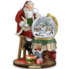 Christmas Snow Globes Thomas Kinkade Santa's Checking His List Musical Sculpture With Swirling Snow