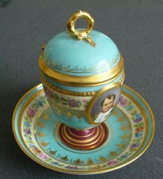 Sevres Style Covered Cup and Saucer Napoleon Portrait