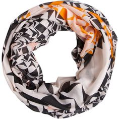 PIECES Pykali Tube Scarf ($17) ❤ liked on Polyvore featuring accessories, scarves, creme, tube scarves, infinity scarf, print scarves, tube scarf and patterned scarves