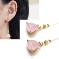 Drop Genuine Gemstone Clip On Earrings Pink Rose Quartz Invisible Clip On Earrings Non Pierced Earrings Minimal Gold Clip-Ons