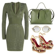 Green, Red & Gold by carolineas on Polyvore featuring polyvore, fashion, style, Balmain, Dolce&Gabbana, Jil Sander, Gucci and clothing