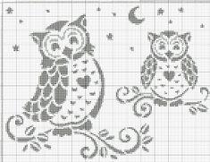 Cross Stitch Owl, Cross Stitch Animals, Cross Stitch Charts, Cross Stitch Designs, Cross Stitching, Cross Stitch Embroidery, Cross Stitch Patterns, Owl Crochet Patterns, Crochet Birds
