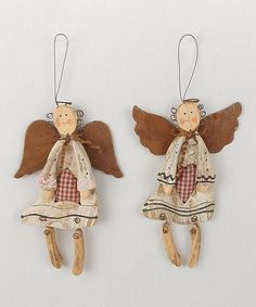 Another great find on #zulily! Rustic Angel Ornament Set - Set of Two by Craft Outlet #zulilyfinds