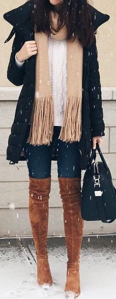 fall outfit ideas / knit layers + OTK boots