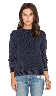 NEUW Pigment Knit Crop Sweater in Pigment Navy