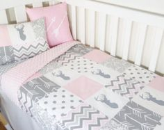 Patchwork quilt nursery set Pink and mint owls Mint от MamaAndCub