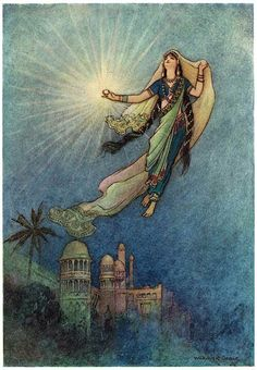 """She took up the jewel in her hand, left the palace, and successfully reached the upper world"", ill. 4, pg 22 from Warwick Goble: Folktales of Bengal, 1912"