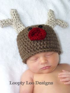 Reindeer Hat, Christmas Hat, crochet, handmade,  - NEWBORN To 12 MONTHS made in USA