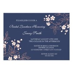 Coral Blue Floral Bridal Lunch Invitation Cards. Bridal luncheon invitations in elegant peach pink, dark navy blue and white classic flower blossoms vintage pattern, chic and feminine, customizable with your shower details.