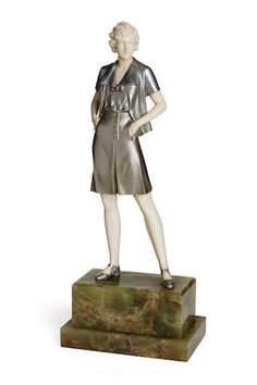 Johann Philipp Ferdinand Preiss (German, 1882-1943) Gamine cold-painted bronze, carved ivory, onyx inscribed F. Preiss.