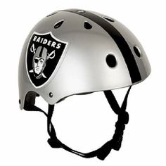 "Oakland Raiders Multi Sport $18.00  You will be ready for the X-Games with the Raiders Multi Sport Helmet! Show everyone you're a die hard Raiders fan while skateboarding, biking, snowboarding, or inline skating. Remember - safety first! Before doing any high flying tricks, be sure to strap on your Raiders helmet. The Raiders Multi Sport Helmet complies with CPSC safety standards.Helmet sizing is as follows: Small = 19""- 20 1/4"", Medium = 20 1/2"" - 21 1/2"", Large = 21 3/4"" - 22 3/4""."