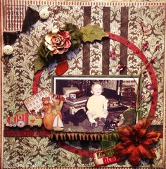 Believe, 1952 ~ Adorable heritage Christmas page. Love the wreath-like photo framing and all the great details!