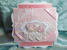 "For this weeks card I decided to do a baby girl card, I have used a Magnolia stamp as I felt that the lace would work well with the image, I have coloured it with promarkers and layered it on to a die cut from Marianne Design and 3 different types of lace. The papers are from Teddy Bo and Papermania and I have decorated with ""it's A Girl"" ribbon and a die cut sentiment from Marianne Design."