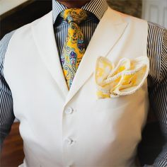 #BlackandWhite Men's Formal Vest & Dress Shirt on a #BlueandGold Neck Tie and a #WhiteandGold Pocket Square