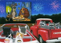 Cats raccoons drive in Lady Tramp July 4th fireworks original aceo painting art #Realism
