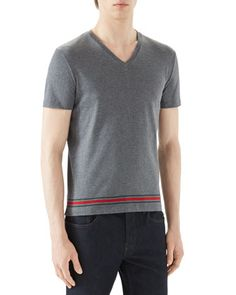 Grey+V-Neck+T-Shirt+w/+Wide+Hem+by+Gucci+at+Neiman+Marcus.