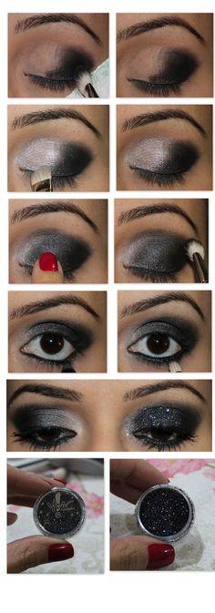 tutorial maquiagem festa preto e glitter, glitter yes comsmetics