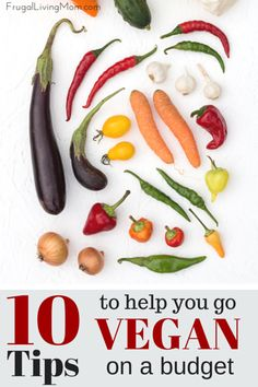 """10 Tips for going vegan on a budget: Want to eat healthy? Trying to do it on a shoestring budget? According to """"Eat Vegan on $4 a Day"""" by Ellen Jaffe Jones it isn't all that hard any longer. It seems in fact it's getting easier! Here's a few tips and tricks that might help you when getting started:"""