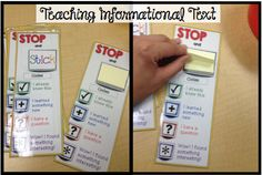 Stop and Stick bookmarks. This is great for when students are reading informational text. They can stop and place a sticky note next to the passage they read. (reading in content area pin 2)