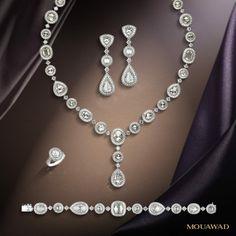Mouawad diamond sets Diamond Earrings Indian, Diamond Necklaces, Diamond Jewelry, Stone Jewelry, Jewelry Rings, Jewelery, Name Necklace, Necklace Set, My Gems
