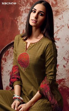 Shop salwar suits online for ladies from BIBA, W & more. Salwar Suit Neck Designs, Kurta Neck Design, Neck Designs For Suits, Neckline Designs, Salwar Designs, Dress Neck Designs, Kurti Designs Party Wear, Blouse Designs, Designer Sarees Online Shopping