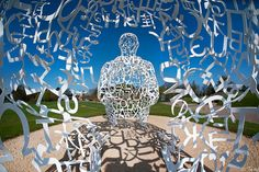one sculpture from inside another - Jaume Plensa - Yorkshire Sculpture Park