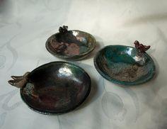 Set ceramic bowls raku pottery multicolour copper by ClayLadyArt