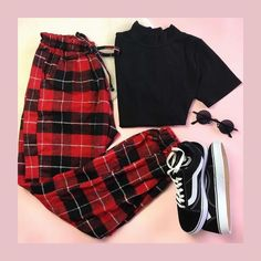Plaid red pants, sneakers - You can find Teen fashion outfits and more on our website. Teen Fashion Outfits, Edgy Outfits, Mode Outfits, Retro Outfits, Grunge Outfits, Outfits For Teens, Fall Outfits, Fashion Mode, Vintage Outfits