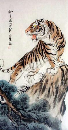 Yellowmenace: Am I unlucky to post an ascending tiger? - Yellowmenace: Am I unlucky to post an ascending tiger? Tiger Art, Japanese Tiger, Asian Art, Animal Art, Illustration Art, Japanese Tattoo Art, Tiger Painting, Japanese Tattoo, Japanese Tiger Tattoo