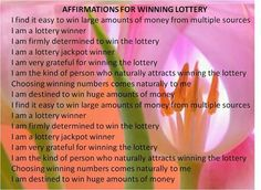 Lottery Affirmations