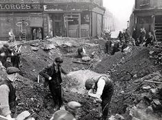 Men work to clear the bomb damage on Scotland Road 1940