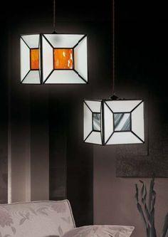 Lamparas de techo Tiffany AURA CUBO. Iluminación Beltrán tu tienda Online en lamparas colgantes artesanales en cristal.