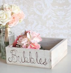 Wedding Bubbles Holder Rustic Tray (item P10151). $34.99, via Etsy.