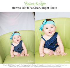 How to achieve a clean, bright edit in Photoshop & PSE.  Great step-by-step tutorial!  {via iHeartFaces.com}
