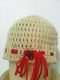 Cream Crochet Baby Hat  whit red bead06 months by NesrinArt, $12.99