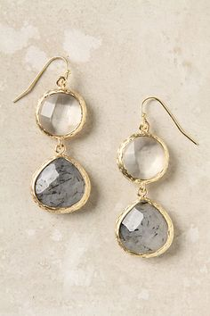 "Anthropologie Sea Drops Earrings: ""Stormy rutilated quartz facets dazzle in chicly exaggerated prong settings."" Metal with blue chalcedony, 1.75""L, 0.75""W. ... I probably should have bought these before they stopped selling them."